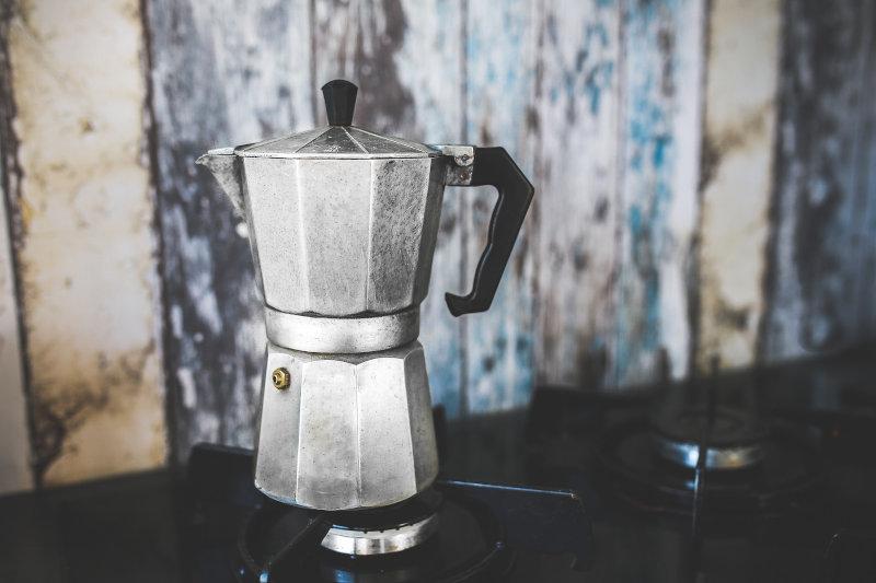 Espressokocher auf Gasherd